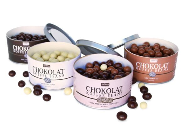 Yahava's four varieties of chocolate covered coffee beans in tints. Available to purchase online or in store through Yahava.