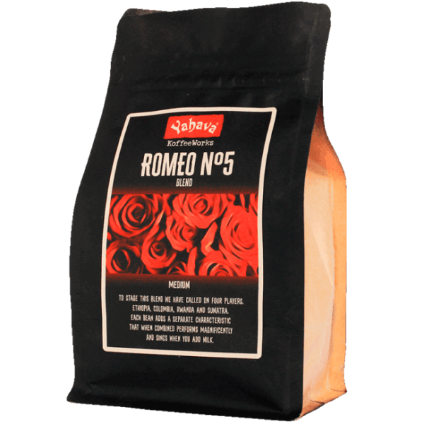 Shop Yahava's delicious Romeo No5 coffee blend online across Australia or in a Perth Koffeeworks