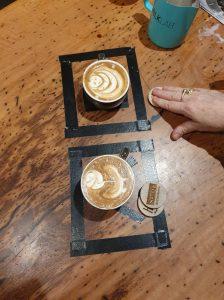 cups of coffee with latte foam art