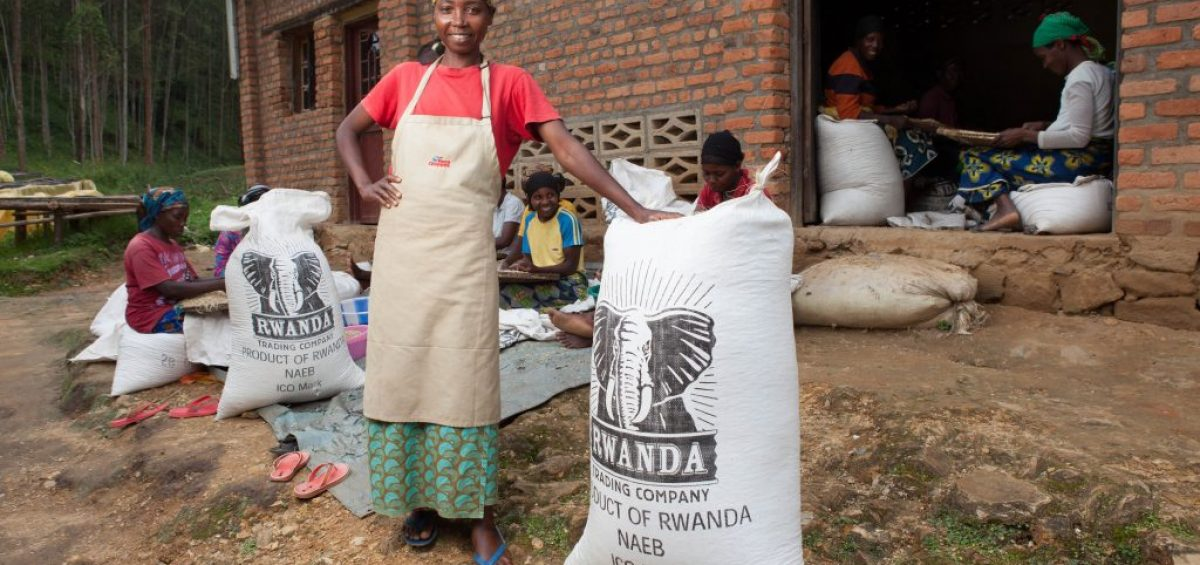 men and women posing for a photo while filling sacks of coffee beans