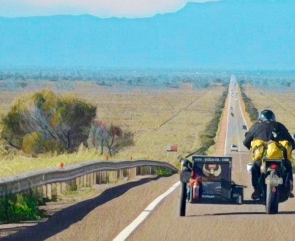 Yahava branded motorbike and sidecar on the journey to the red centre.