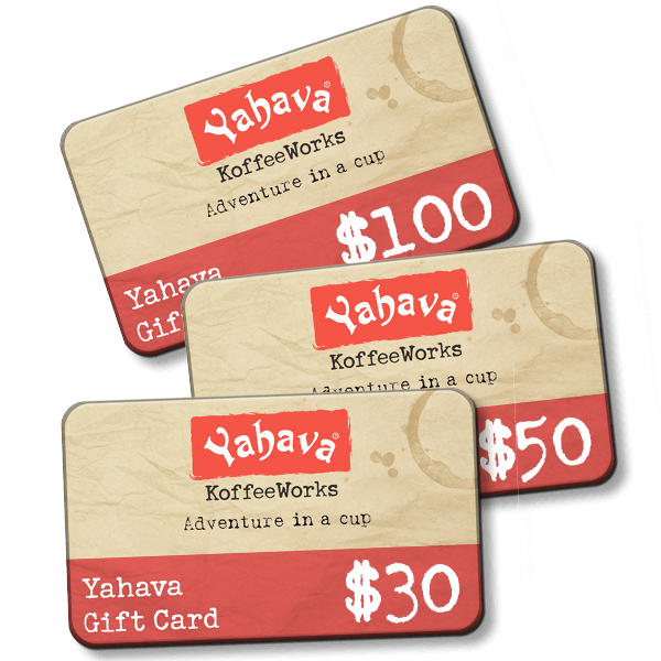 Yahava Gift Cards on a transparent background. Gift Perth's best coffee with Yahava both online or in store.