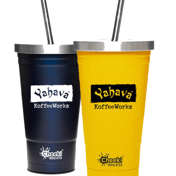 Yahava 16oz Black and Yellow Cheeki Coffee Tumblers with metal straw. SHop online and instore in Perth