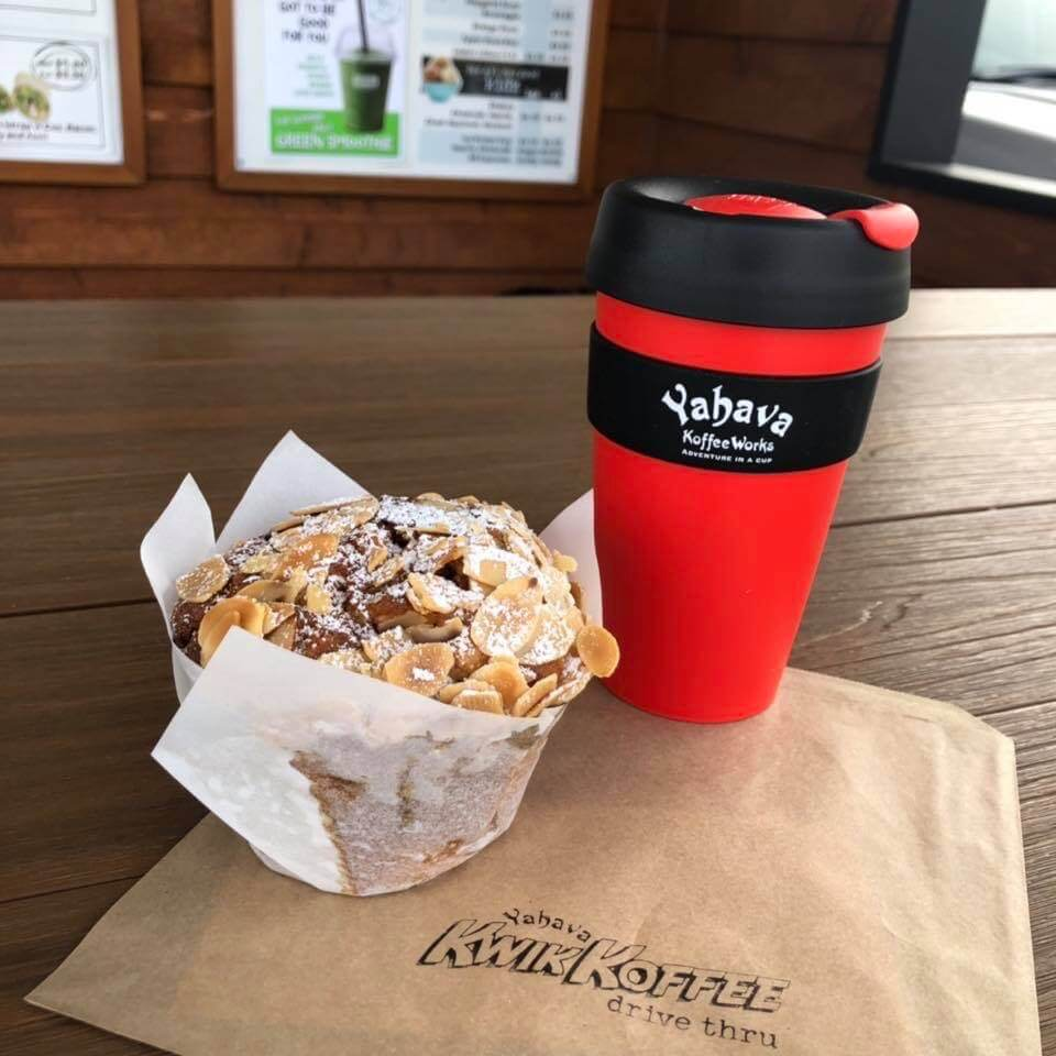 Delicious muffin and coffee in a reusable Yahava KoffeeWorks cup.