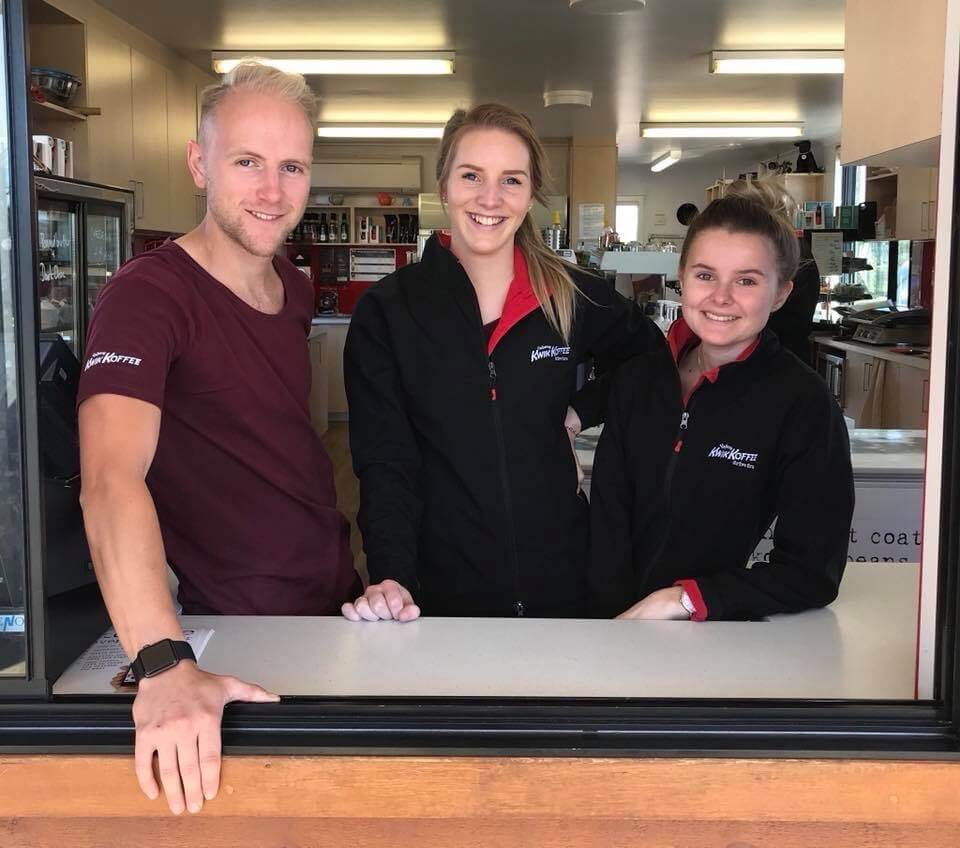 Yahava's friendly staff members serving Perth's best coffee at the coffee drive through.