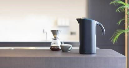Filter coffee, black jug and tea cup. Shop Yahava coffee equipment online and in store.